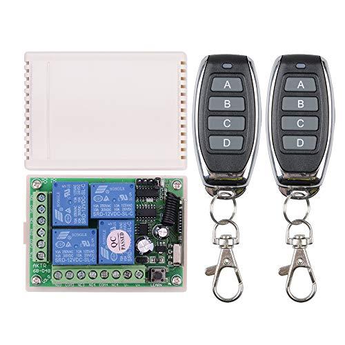 433 MHz 12 V mando a distancia relé de 4 canales, CC 12 V 433 MHz, transmisor y receptor para mando a distancia doméstico, control industrial y más