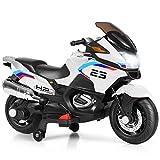 Costzon Kids Ride On Motorcycle, 12V Electric Battery Powered Ride On Bike w/ Training Wheels, LED Lights, Music, Pedal, Forward/ Reverse, Gift for Children Boys Girls (White)