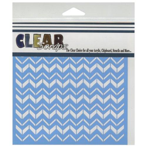 Clear Scraps CSSM6-CHVR Translucent Plastic Film Stencil, Chevron, 6-Inch x 6-Inch