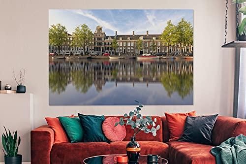 Canvas Schilderijen - Prinsengracht in het centrum van Amsterdam - 150x100 cm - Wanddecoratie - canvas met 2cm dik frame