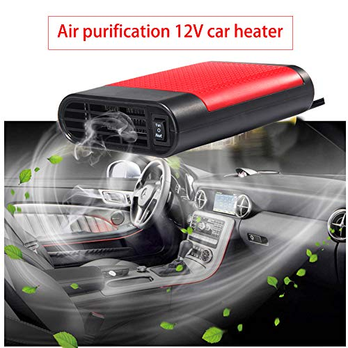 WANYIG Chauffage Voiture 12V 150W Réchauffeur de Voiture Car Heater avec Ventilateur Portable Dégivreurs Pare-Brise (Rouge, avec Purification de l'air)