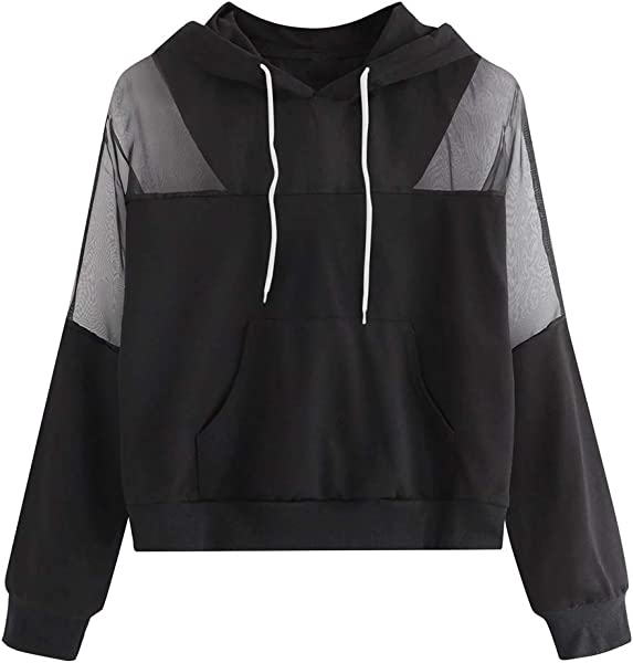 Redacel Women Hoodie Sweatshirt Long Sleeve Tops For Women Casual Patchwork Hooded Pullover