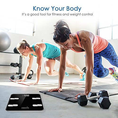 Easehold Bluetooth Body Fat Scale, Accurate Digital Smart Bathroom Weight Scales with iOS and Android APP for Body Weight, BMI, Fat, Water Muscle, Easy to Read,396 lbs