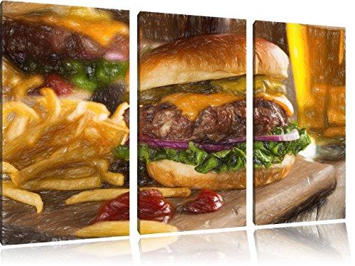 Juicy chili cheeseburgerFoto Canvas 3 deel | Maat: 120x80 cm | Wanddecoraties | Kunstdruk | Volledig gemonteerd