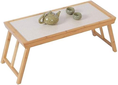 Zryh Table d'ordinateur Pliante Japonaise Petite Table Basse Table de lit Paresseux Peut être élevé et abaissé Table d'ordinateur portable en Bambou Apprentissage Table Simple créatif