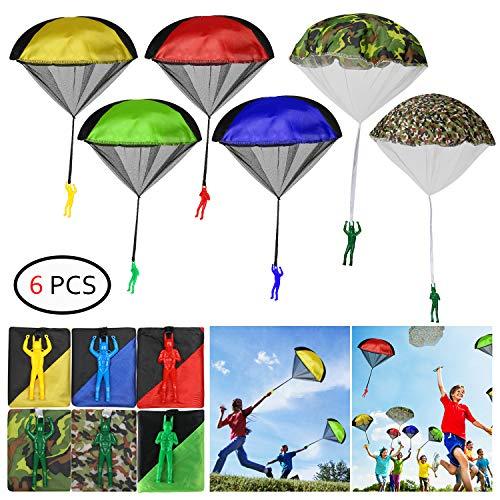 KATELUO Fallschirm Spielzeug Kinder, Kinder Fallschirm,6 Stück Fallschirm Spielzeug,Spiel des Handwurfs-Fallschirmspielzeugs der Kinder im Freien (6 Stück)
