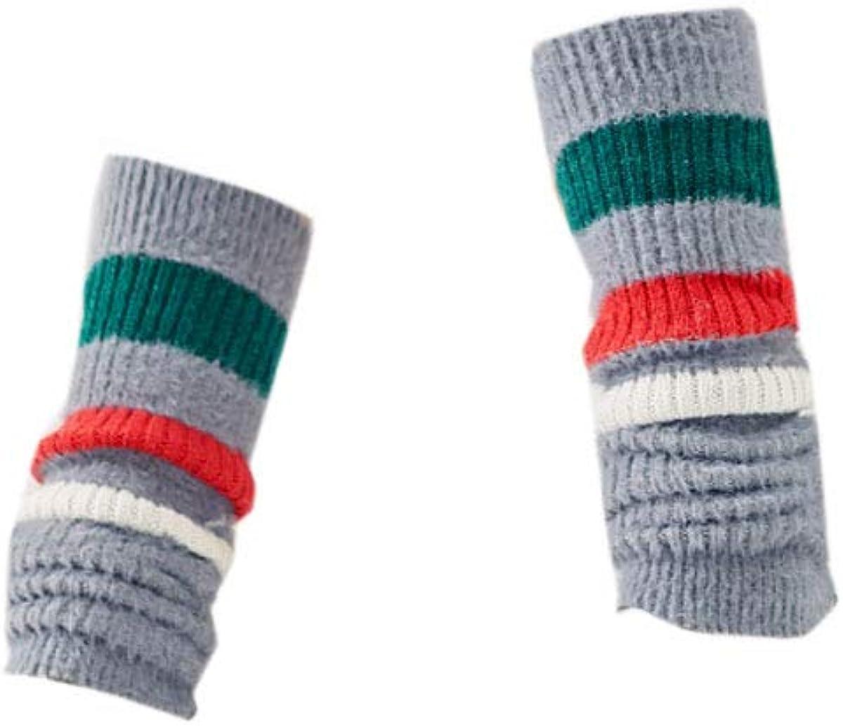 YueLian Women Striped Woolen Footless Leg Warmer Boot Socks for Winter Autumn