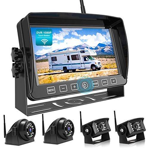 Fookoo 1080P Wireless Backup Camera System Kit with Recording, 7' HD Quad Split Monitor with Touch Button & IP69 Waterproof Rear View Side View Cameras+Parking Lines for RV/Truck/Trailer/Van (DW704)