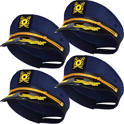 SATINIOR 4 Pieces Blue Yacht Captain Hats Adjustable Navy Sailor Hats Skipper Hats Ship Sailor Boat Cap