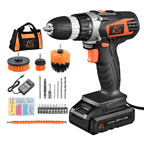 MAIBERG Battery Power Drill Set, 20V Cordless Drill Driver Kit with 3/8 inches Keyless Chuck, 2 Variable Speed, 23pcs Accessories include Drywall Anchor Screws, Brushes, Drill Bits and Soft Bag