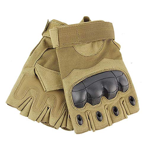 Tactical Glove Hard Knuckle Fingerless Half Finger Outdoor Cycling Motorcycle Hiking Camping Driving Gloves Guante (Brown, X-Large)
