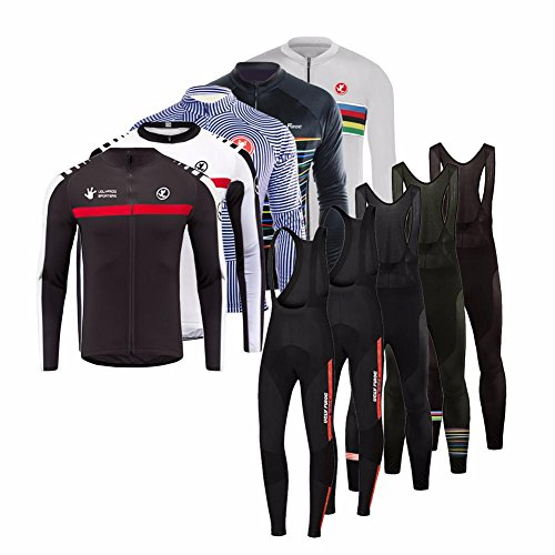 Uglyfrog HWCX01 2018-2019 Winter Jersey Thermisches Fahrradtrikot Vlies Thermo Langarm Shirt +Long Pants with Bib Herren Breathable Radfahren Fahrrad Lange Anzüge