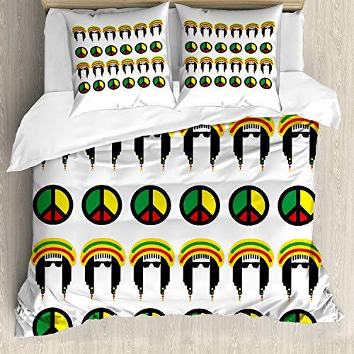 ABAKUHAUS jamaicano Funda Nórdica, Colorido Reggae, Estampado Lavable, 3 Piezas con 2 Fundas de...