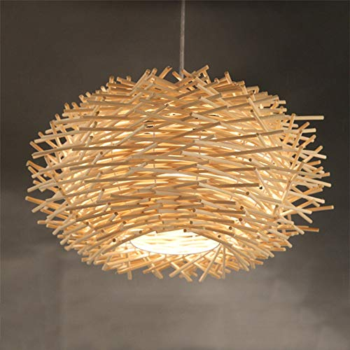 MAONB Modern Simple Rattan Chandelier Rural Farmhouse Creative Personality Aisle Single Head Restaurant Bird's Nest Chandelier (Color : Natural)