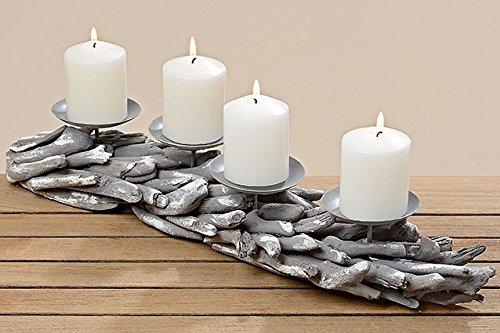 4TGL.adventskranz Kerzenleuchter Malu L55cm Holz/metall Grau 3532300