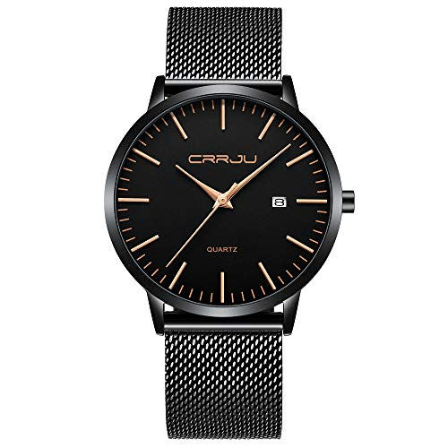CRRJU Herren Uhr Ultra-schlanke Nur 7mm Männer Uhren Mode Wasserdicht mit Edelstahlband Mesh und Datumsanzeige Analog Quarz Business Armbanduhr für Herren (Schwarz-Roségold)