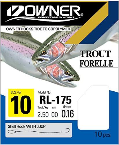 Owner RL-175 Forellenhaken blau 60cm - 10 gebundene Angelhaken zum Angeln auf Forellen, Haken zum Forellenangeln, Einzelhaken, Gr./Durchmesser/Tragkraft:Gr. 10/ 3.7kg / 0.20mm