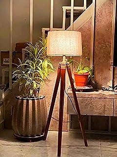 DECORVAIZ Home Decor Wood & Metal Floor Lamp (Brown)