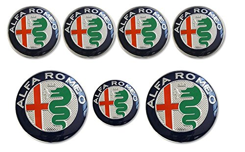 AOWIFT 7 Stück Alfa Romeo Lenkradnabenkappen, Lenkrad Hintere Haube Logo