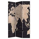 Deco Line Biombo de 3 piezas, diseño de mapamundi, madera y tela, 180 cm