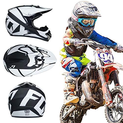 KIVEM Casco de Motocross para Niños (4 Piezas) - Casco de Moto Casco de Todoterreno Integrales Adultos Quad Bike Downhill ATV MTB Go Karting Casco con Diseño de Fox - Negro Blanco,S