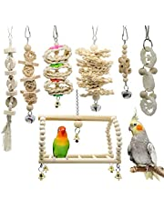 7 Packs Bird Parrot Swing Chewing Toys- Natural Wood Hanging Bell Bird Cage Toys Suitable for Small Parakeets, Cockatiels, Conures, Finches,Budgie,Macaws, Parrots, Love Birds