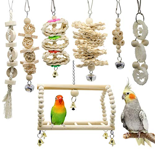 Deloky 7 Packs Bird Parrot Swing Chewing Toys-Hanging Bell Bird Cage Toys Suitable for Small Parakeets, Cockatiels, Conures, Finches,Budgie,Macaws, Parrots, Love Birds
