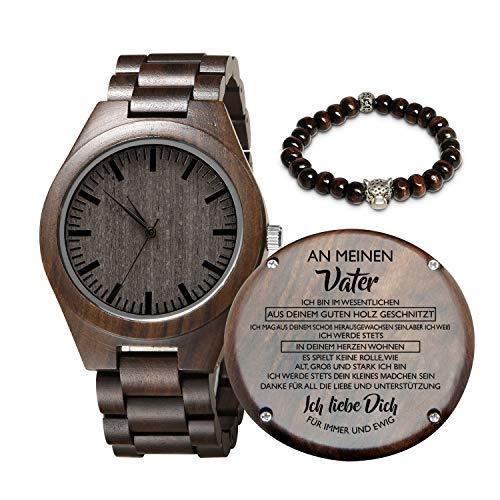 Gravierte hölzerne Uhr für Sohn und Freund, personalisierte hölzerne Uhr Geschenk für Freund, Abitur Geschenk von Mama, von Papa (Mädchen An Vater)