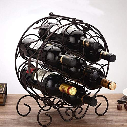 Elegante Botellero, Estante del vino Hierro forjado Bronce / marrón oscuro escritorio robustos Base portátil Steady soldadura duradero y hermoso 6 Opcional Opcional 7 botellas de vino Decoración ,Esta