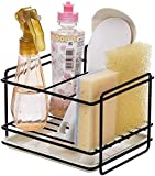 Fonicy Kitchen Sink Caddy on Coutertop Adhesive Sponge Holder Soap Brush Organizer Rack with Drain Pan, Dishwasher Liquid Shower Gel Storage Rack for Kitchen and Bathroom