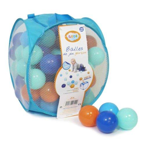 Ludi - Sac de 75 balles Multicolores Souples en Plastique Anti-écrasement. A partir de 6 Mois. Balles à Lancer, Faire Rouler et pour Piscine à balles. Diamètre : 6 cm - réf. 2794