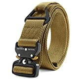 """Fairwin Tactical Rigger Belt, 1.7"""" Nylon Webbing Belt with V-Ring Heavy-Duty Quick-Release Buckle (Brown, S(Waist 30''-36''Width..."""