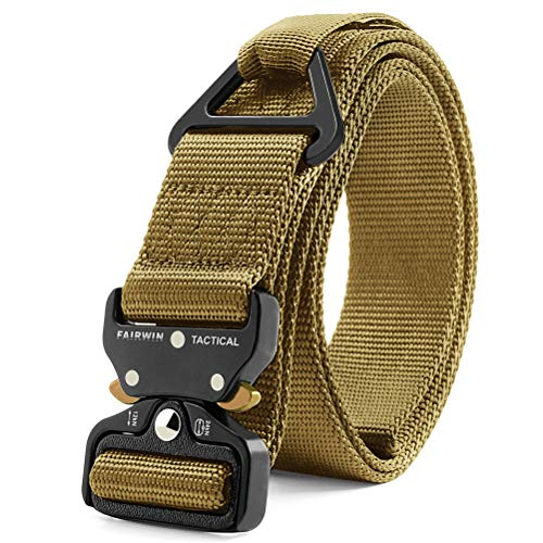 Fairwin Tactical Rigger Belt, Nylon Webbing Waist Belt with V-Ring Heavy-Duty Quick-Release Buckle (Brown, S(Waist 30''-36''Width 1.5''))
