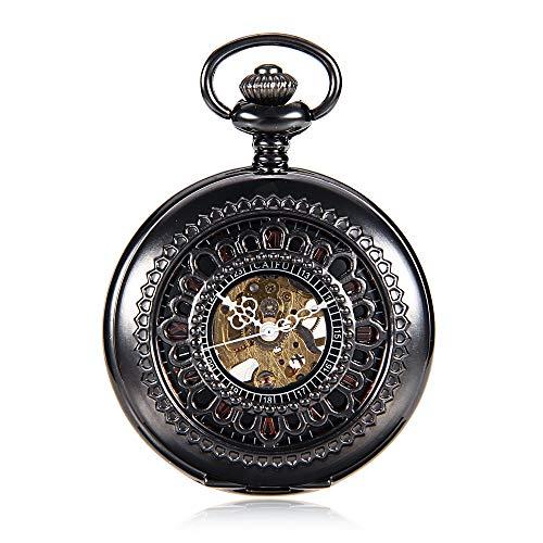 JWIL Orologio da Tasca Orologio da Taschino Meccanico Vuoto da Uomo e da Donna Orologio da Taschino Meccanico Vuoto da Vibrazione (Color : Black, Size : 4.7x1.5cm)