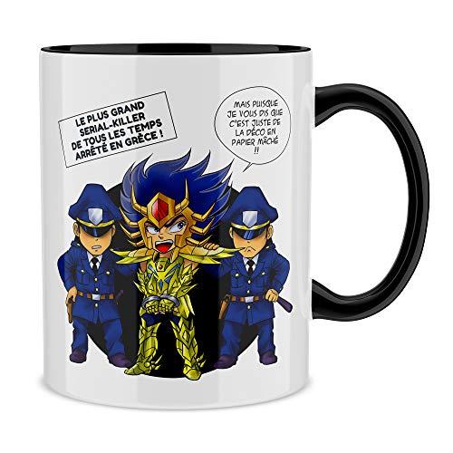 Okiwoki Mug Noir Saint Seiya parodique Death Mask Gold Saint du Cancer : l'affaire D.S.Mask (Il affichait Le Visage de Ses Victimes sur Les Murs de Son Temple.) (Parodie Saint Seiya)