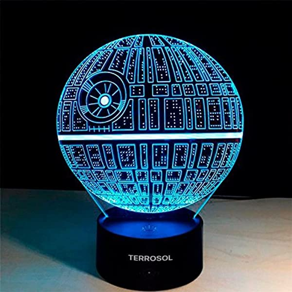Terrosol 3D Illusion Platform Star Wars Night Lighting Touch Botton 7 Color Change Decor LED Lamp Gift Keychain Eiffel Tower Included