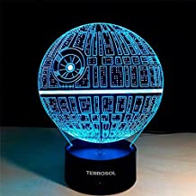Terrosol 3D Illusion Platform Star Wars Night Lighting, Touch Botton 7 Color Change Decor LED Lamp +Gift Keychain Eiffel Tower Included