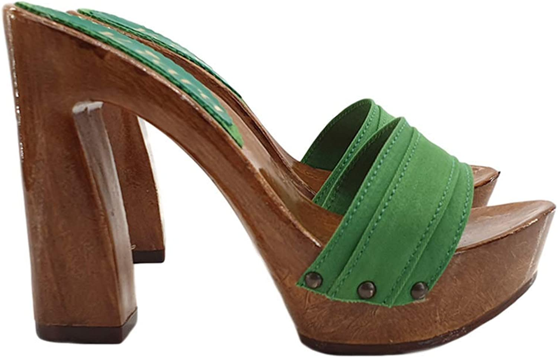 Kiara shoes Fabric Clogs Heel 12,5 cm Handmade in  K12001