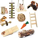Fulfun Hamster Chew Toys Accessories, 10 Pack Natural Wooden Pine Guinea Pigs Toys Rats Chinchillas Toys Accessories Dumbbells Exercise Bell Roller Teeth Care Molar Toy for Bunny Rabbits Gerbils