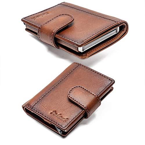 TALED® Kartenetui RFID Geldbörse Leder - Praktisches Slim Wallet Braun - RFID Schutz - Figuretta Kreditkartenetui Herren mit Münzfach- Premium smart Wallet - Bis 12 Karten (Vintage-Brown)