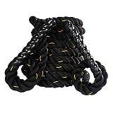 Dawoo Cuerda de Batalla de Entrenamiento Deportivo de Estilo Negro, Cuerda de Entrenamiento físico (38 mm * 9 m / 12 m / 15 m) (12)