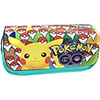 Estuche para lápices, diseño de Anime, doble capa, para estudiantes, adolescentes, color Pikachu-B