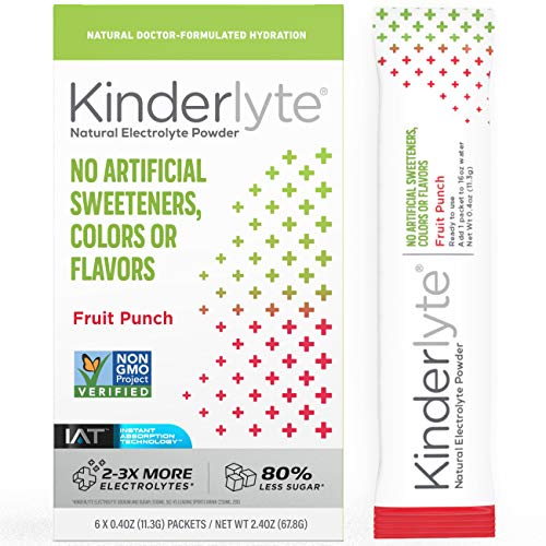 Kinderlyte Original Electrolyte Powder | Natural, 2-3x More Electrolytes, 80% Less Sugar | No Artificial Sweeteners, Colors or Flavors (Fruit Punch, 6 Count)