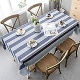 Pahajim Tischdecke Baumwolle Leinen Einfacher Stil Tischwäsche Tischläufer mit Quaste entworfenen Streifen Spleißen Gartentischdekoration Home Küche Dekoration(Blau, Rechteckig/Oval, 140 x 200 cm)