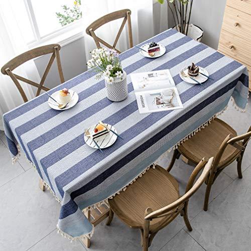 Pahajim - Mantel a Rayas de la Moda Moderna Paño de Mesa de Lino de algodón Lavable con Costura de borlas para Cocina de mesas rectangulares(Rayas Azul, rectángulo/Oblong,55 x 118 Pulgadas)