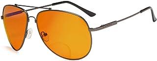 Eyekepper Memory Frame Blue Blocking Glasses for Sleep-Nighttime Eyewear-Special Orange Tinted Bifocal Reading Glasses for Women Men (Gunmetal, 1.00)
