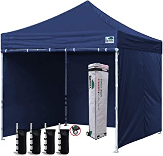 Eurmax 10'x10' Ez Pop-up Canopy Tent Commercial Instant Canopies with 4 Removable Zipper End Side Walls and Roller Bag, Bonus 4 SandBags(Navy Blue)