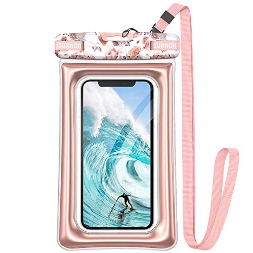 SURITCH Universal Waterproof Phone Pouch Floating IPX8 Waterproof Phone Case for iPhone 11 Pro Max XS Max XR X 8 7 Plus 6s Galaxy S10 S10e S9 S20 Ultra Note 9/10 Google Pixel Up to 69quotRose Marble
