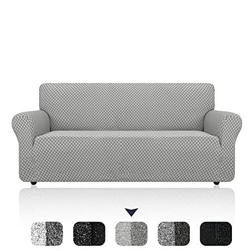 DANNEIL Funda de sofá Universal Jacquard, Fundas Sofa elasticas de Tejido de Dos Tonos, Protector Sofa Todo Incluido a Prueba de Polvo de Sala de Estar (Grey,1 Seater 90-135cm)