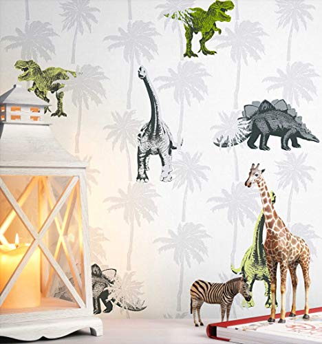NEWROOM Kindertapete Grau Dinos Dinosaurier Kinder Vliestapete Grün Vlies Kindertapete Kinderzimmer Babytapete Babyzimmer